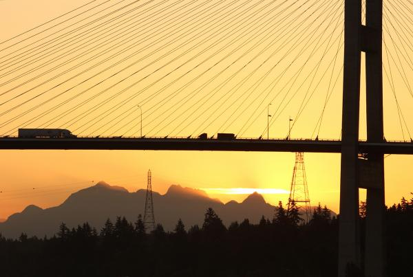 View of the Port Mann Bridge bridge in Delta/Surrey from the office of ICBC Lawyers Simpson Thomas & Associates.