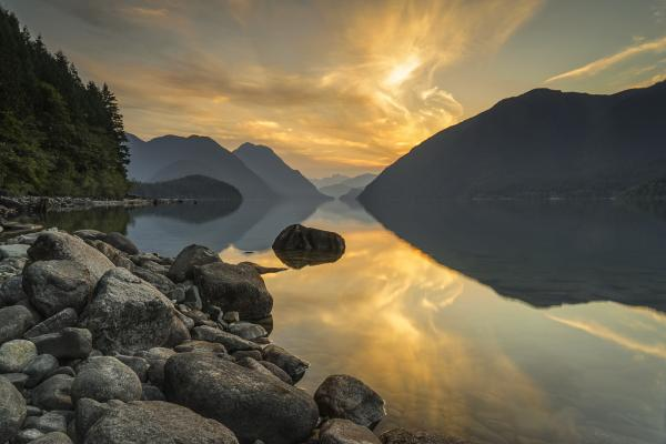 Sunset over a lake in Maple Ridge as seen by ICBC claims lawyers, Simpson Thomas & Associates.