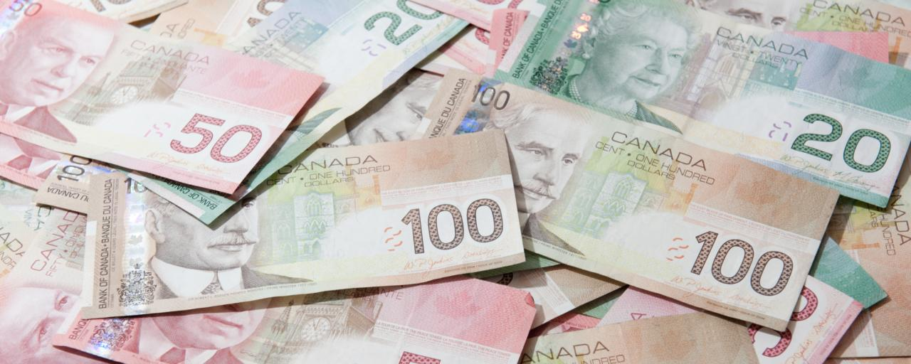 twenties, fifties and hundreds in canadian funds